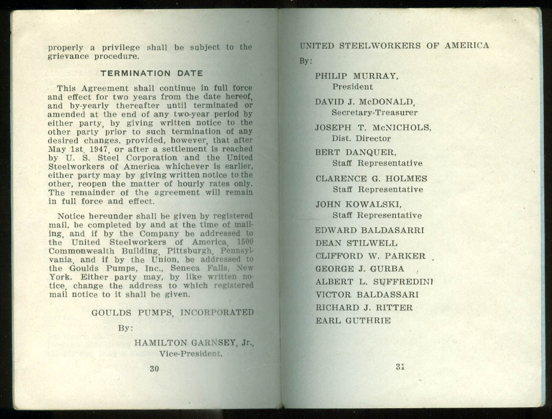 Agreement Goulds Pumps Seneca Falls NY & United Steelworkers 1946