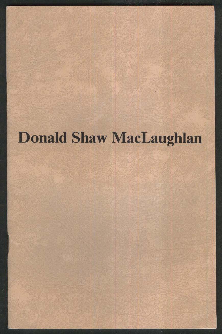 Donald Shaw MacLaughlan art exhibition catalog 1986 Harbor Gallery NY