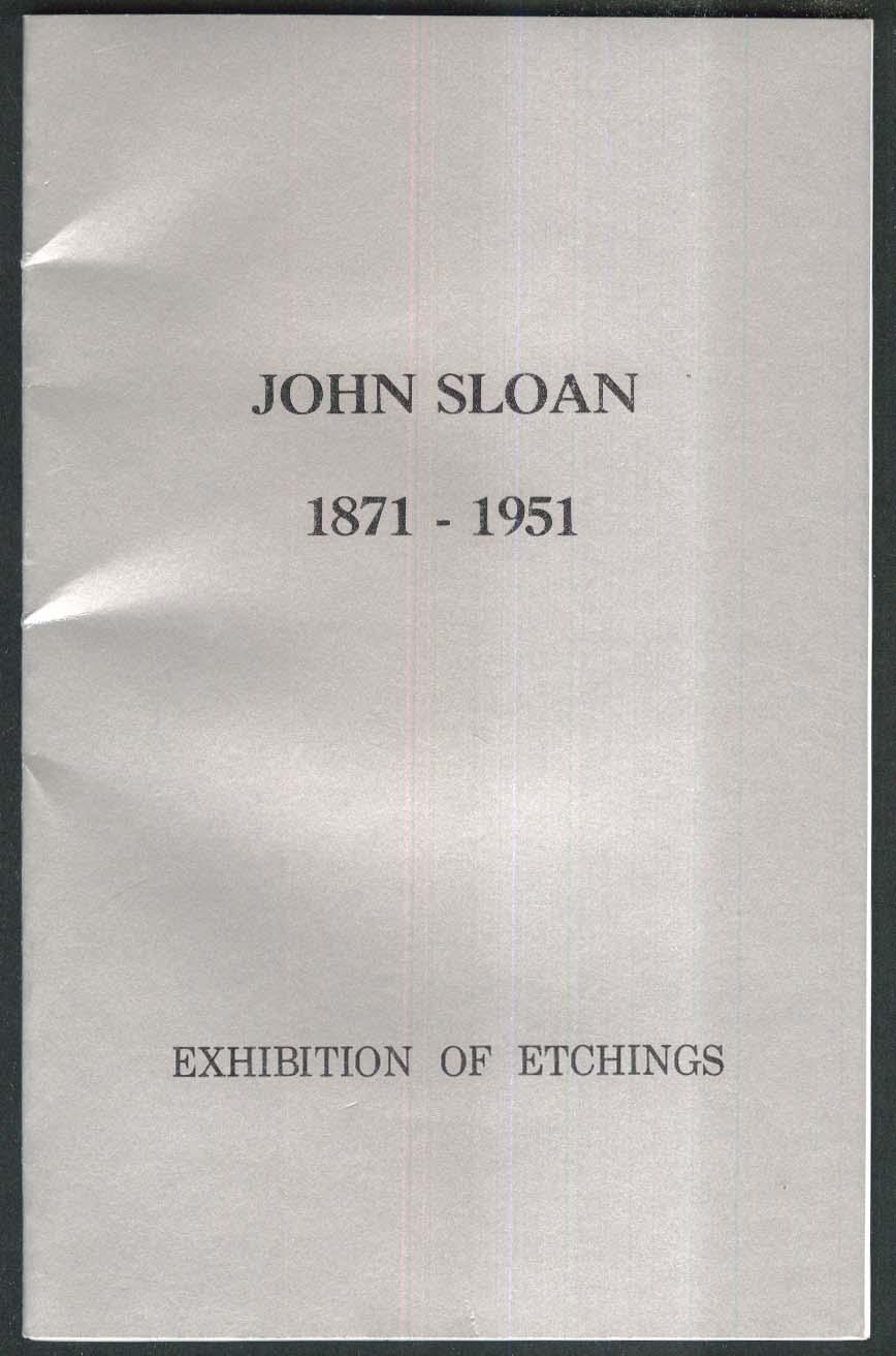 John Sloan Etchings 1974 art exhibition catalog