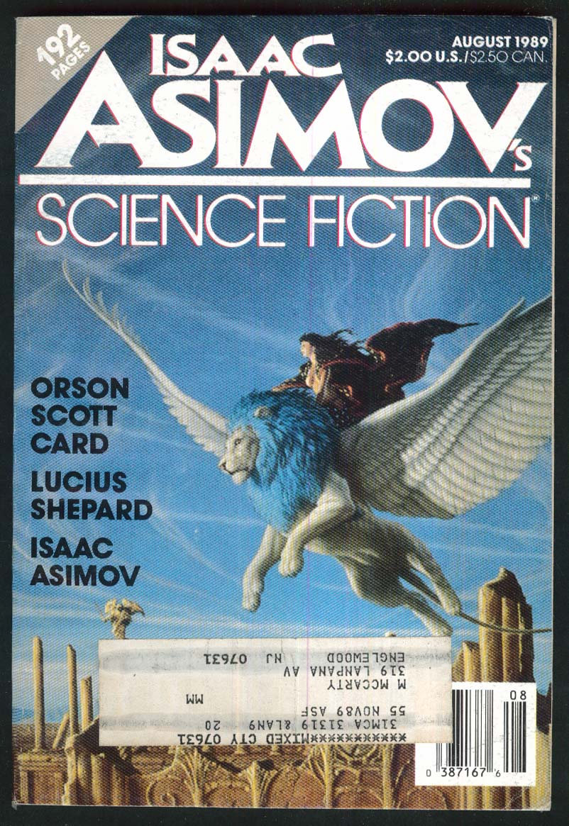 ISAAC ASIMOV'S SCIENCE FICTION Orson Scott Card Lucius Shepard 8 1989