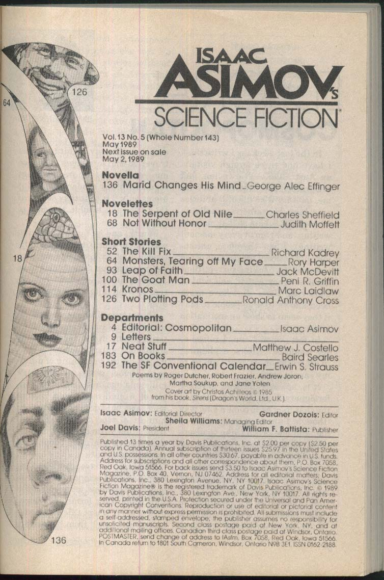 ISAAC ASIMOV'S SCIENCE FICTION Charles Sheffield George Alec Effinger 5 1989