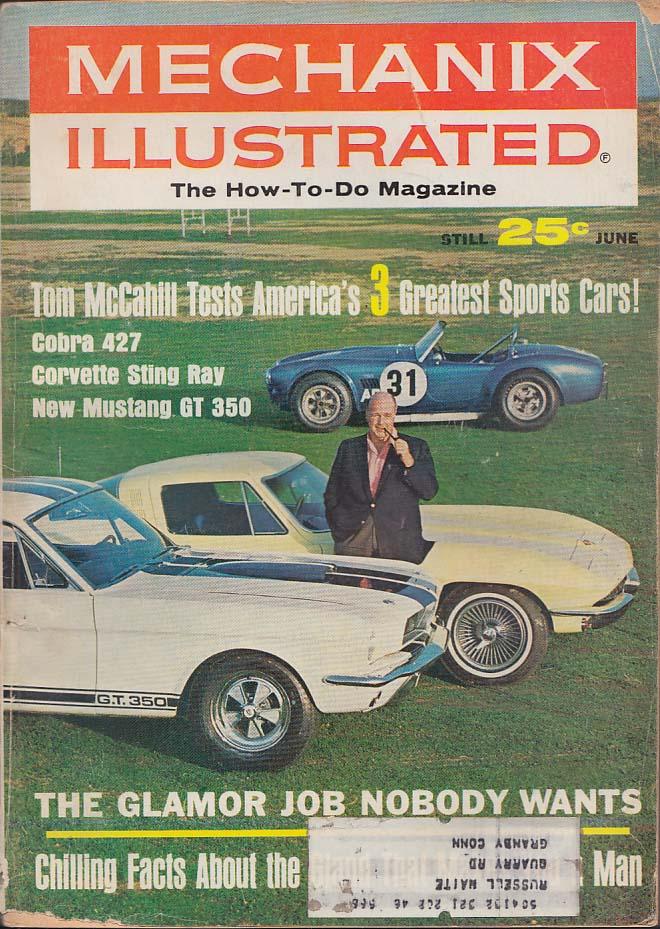 MECHANIX ILLUSTRATED Cobra 427 Corvette Sting Ray Mustang GT 350 tests 6 1965