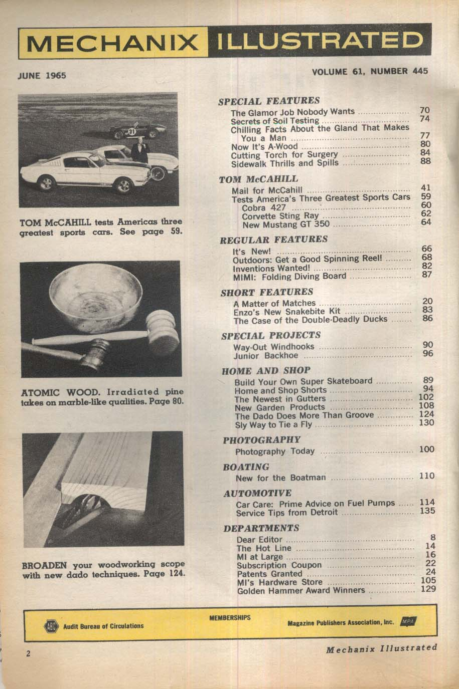 MECHANIX ILLUSTRATED Cobra 427 Corvette Sting Ray Mustang GT 350 tests 6 1965