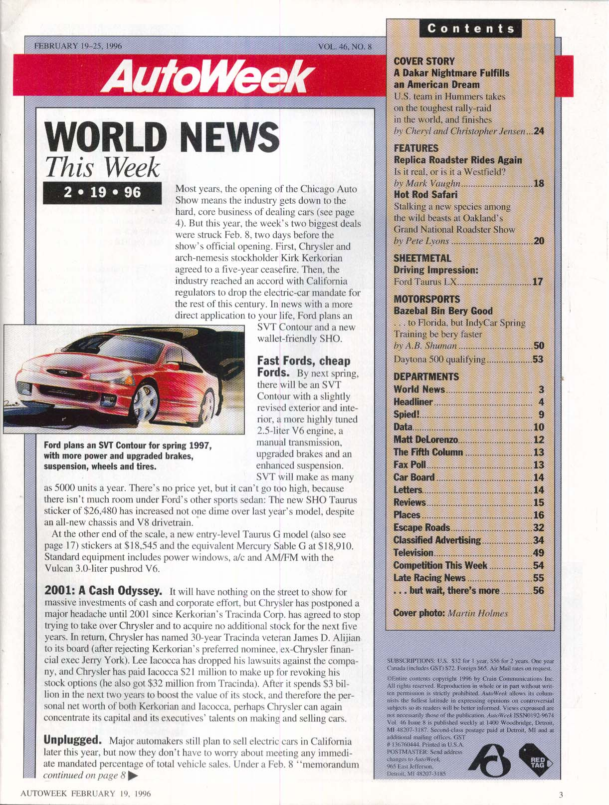 AUTO WEEK Ford Taurus LX Hummer Oakland Grand National Roadster Show 2/19 1996