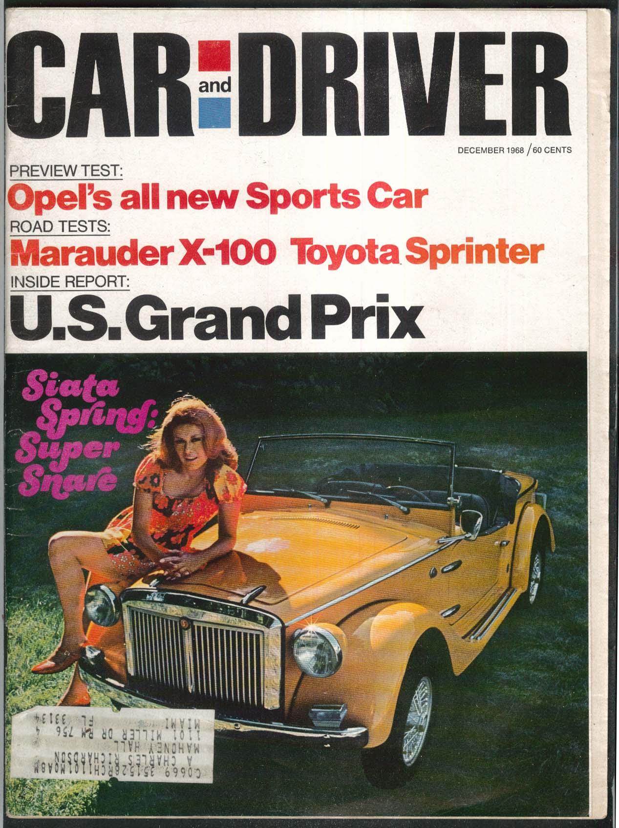 CAR & DRIVER Mercury Marauder X-100 Toyota Corolla Sprinter road tests 12  1968