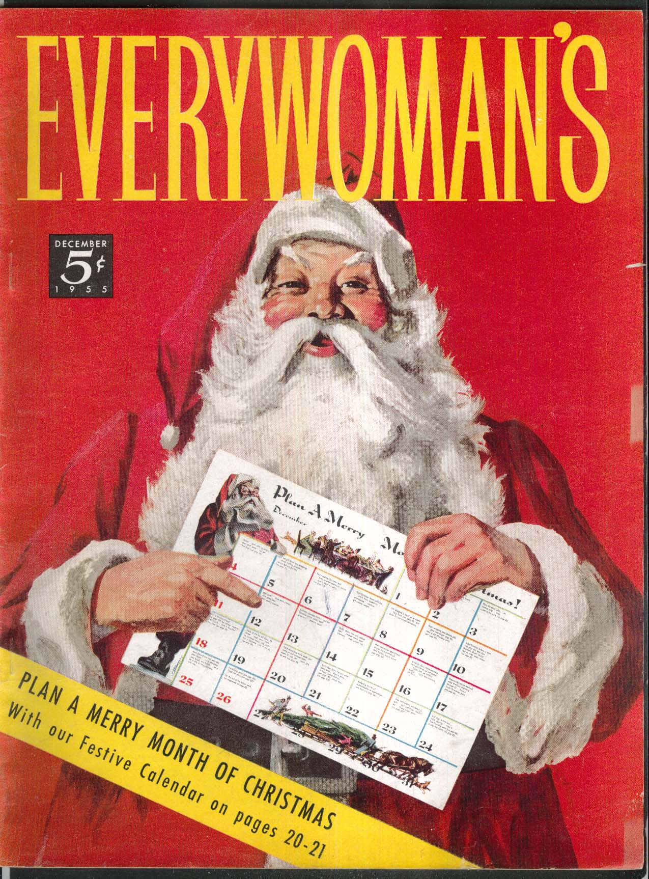 EVERYWOMAN'S Christmas Santa Claus Central Park Turkey Hash ++ 12 1955
