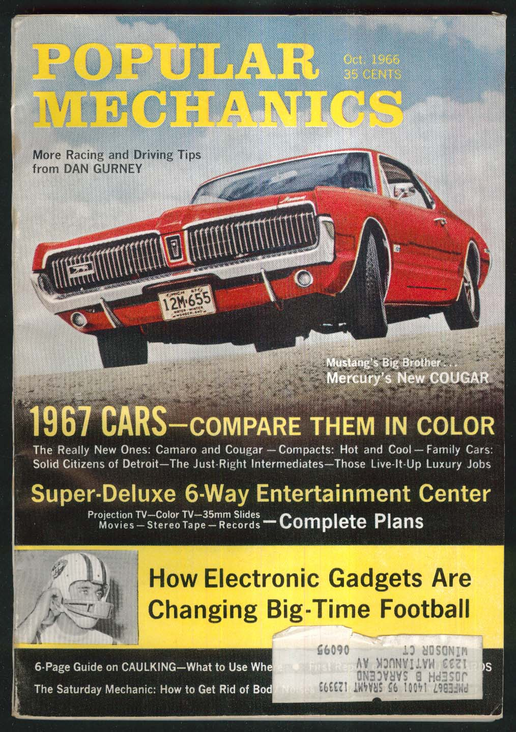 POPULAR MECHANICS 1967 Mercury Cougar Chevrolet Camaro comparison 10 1966