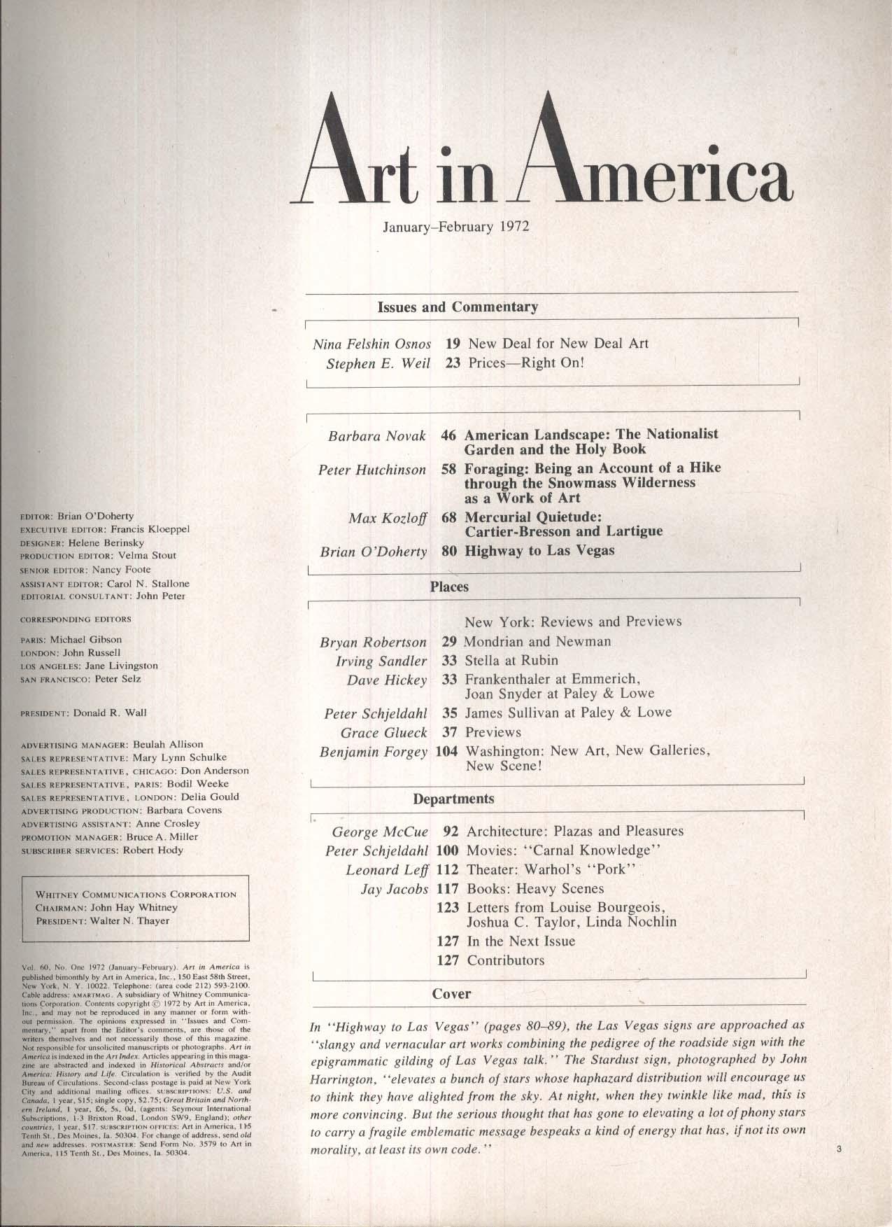 ART IN AMERICA Cartier-Bresson Lartigue Frankenthaler Emmerich ++ 1-2 1972