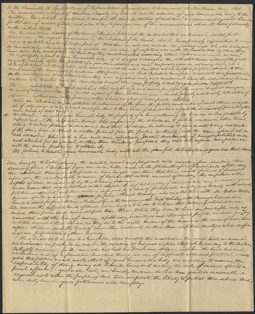 1838 Petition to Connecticut Legislature re: Windham County Liquor Licenses