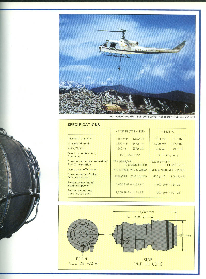 Kawasaki Jet Engines brochure 1979 helicopter; jet transport