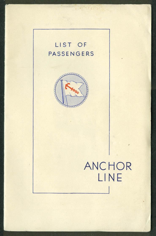 Anchor Line T S S Transylvania Passenger List Glasgow-Boston-NY 1939