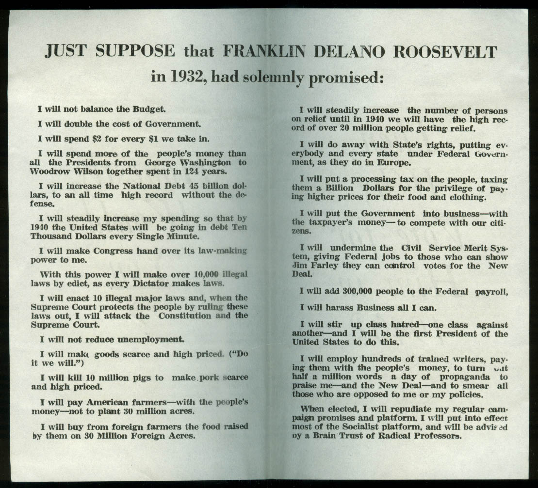 Honestly Would YOU vote for FDR if he'd promised in 1932? 1940 leaflet