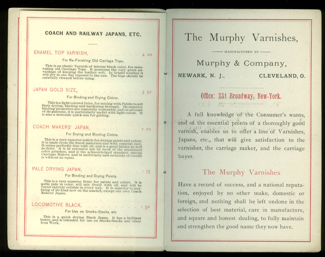 Murphy Varnishes Price List Catalog 1880s T Sisson Paint Hartford CT