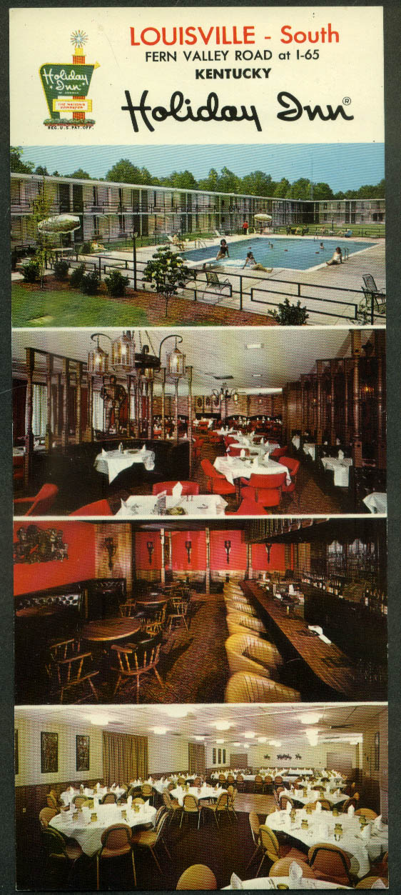 Holiday Inn Louisville - South Fern Valley Road at I-65 long postcard 1960s