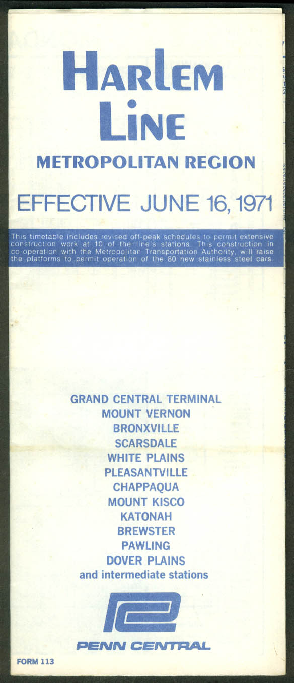 Penn Central Railroad Timetable Harlem Line 6/16 1971