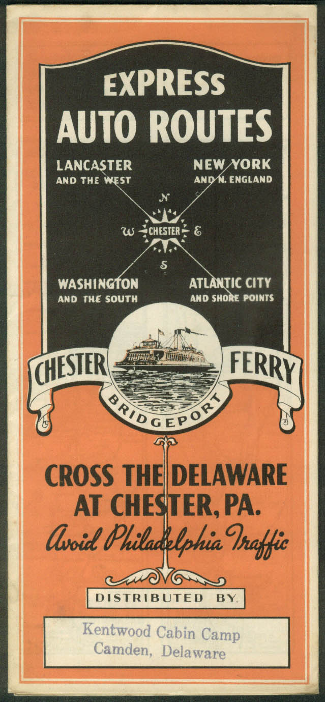 Chester-Bridgeport Ferry Express Auto Routes 1937 NY-DC-Atlantic City-Lancaster