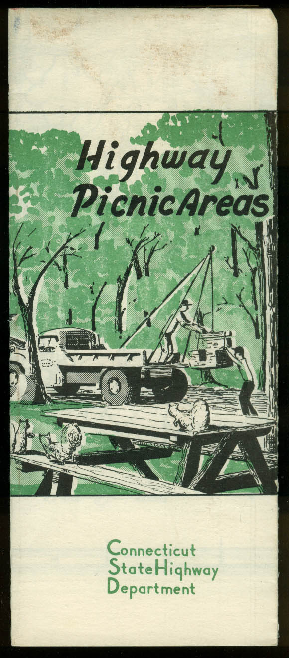 Connecticut State Highway Department Picnic Areas Map 1955