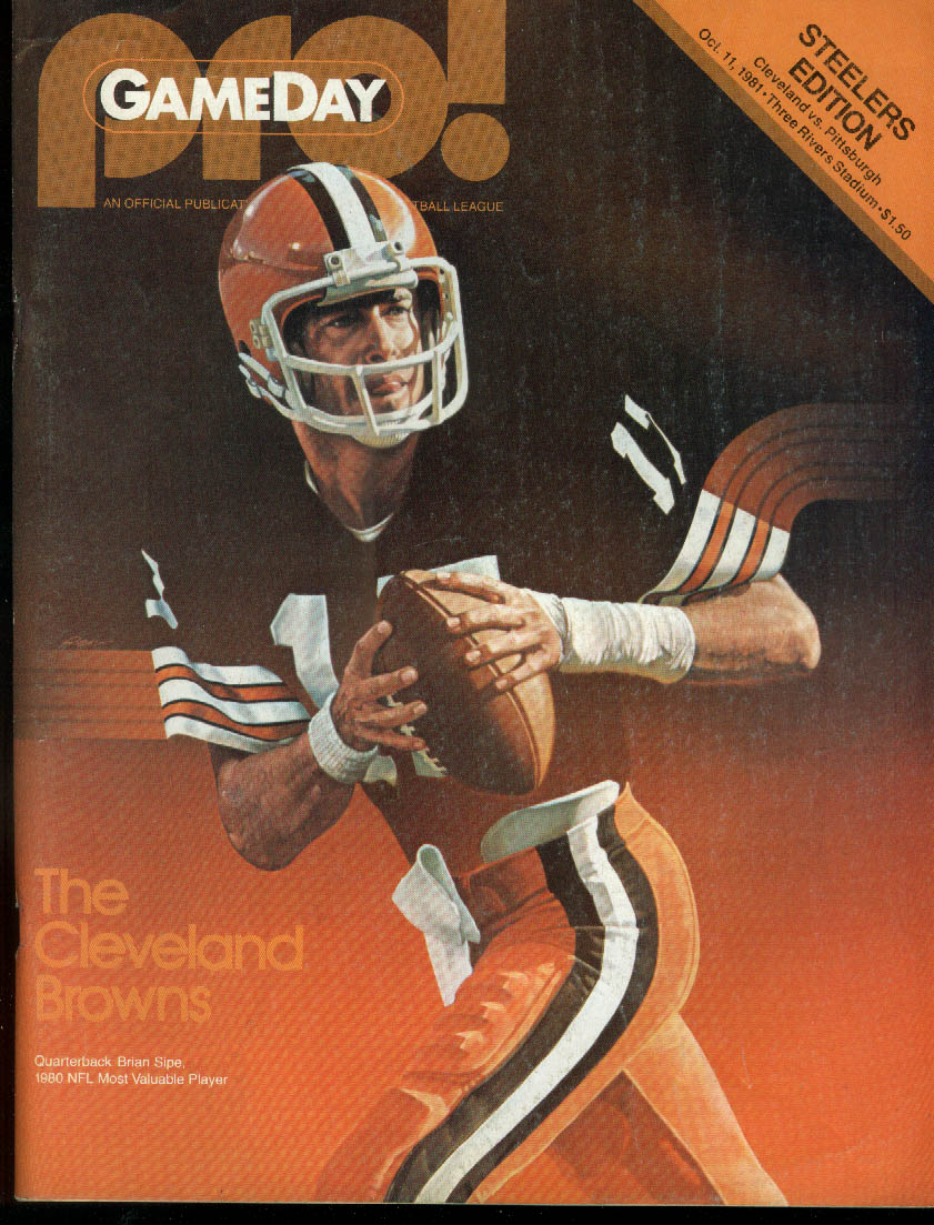 Cleveland Browns at Pittsburgh Steelers PRO! GAMEDAY Progam Magazine 1981