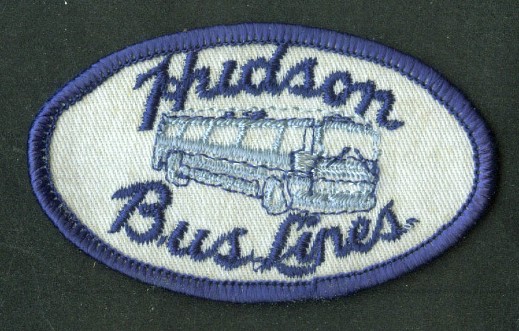 "Hudson Bus Lines unused uniform embroidered patch Lewiston ME 3 1/2"" wide"