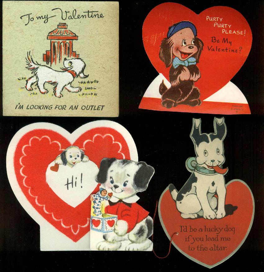Twelve different dog motif Valentine cards 1930s-1960s Lot 15-11
