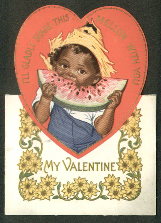I'll Gladly Share This Melon Valentine card Negro stereotype 1920s watermelon