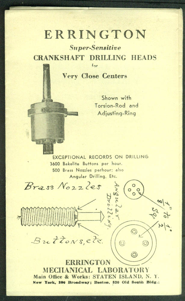 Errington Crankshaft Drilling Heads sales folder Staten Island NY ca 1920