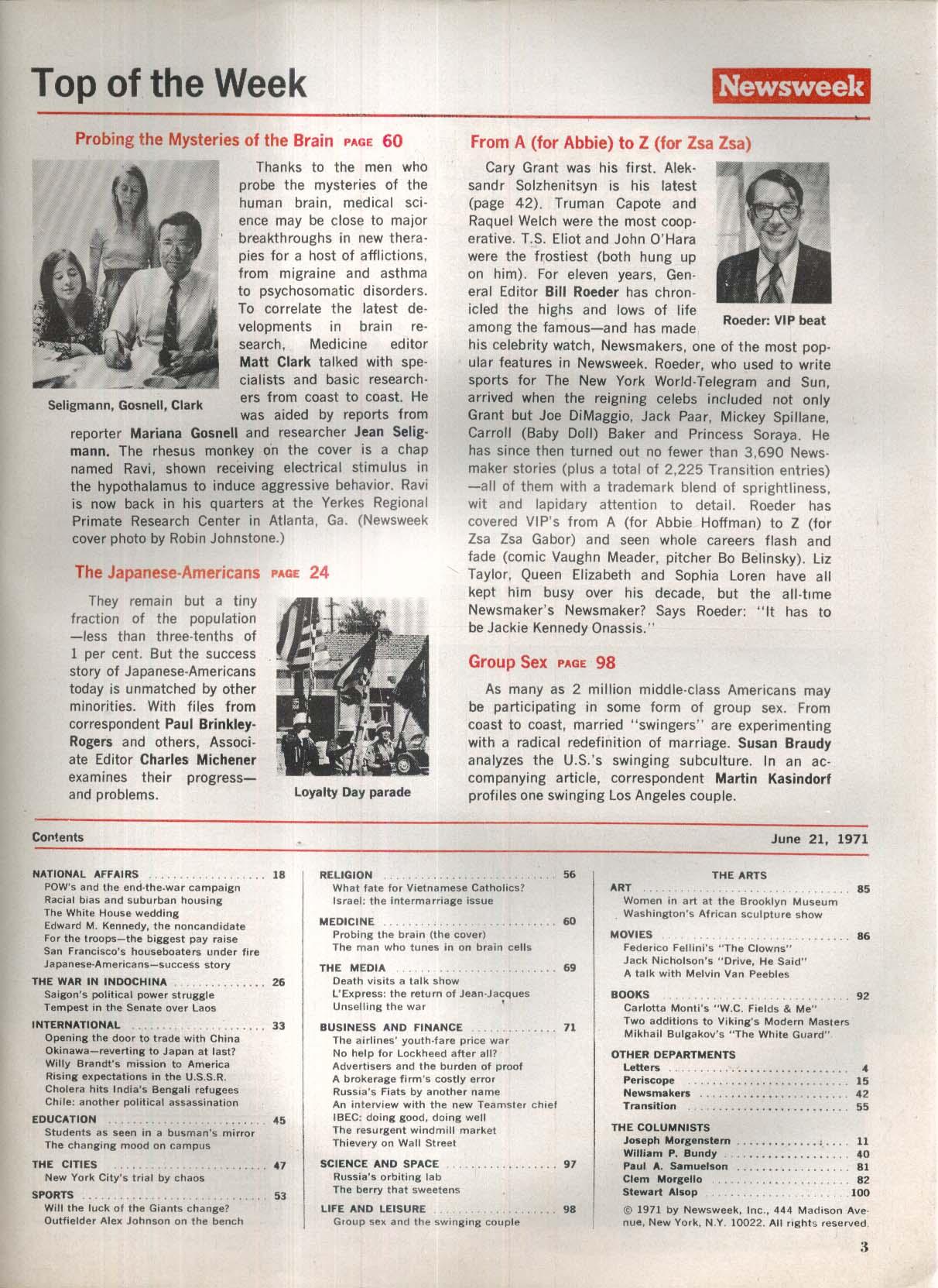 NEWSWEEK Brain Research Edward Kennedy Vietnam POW 6/21 1971