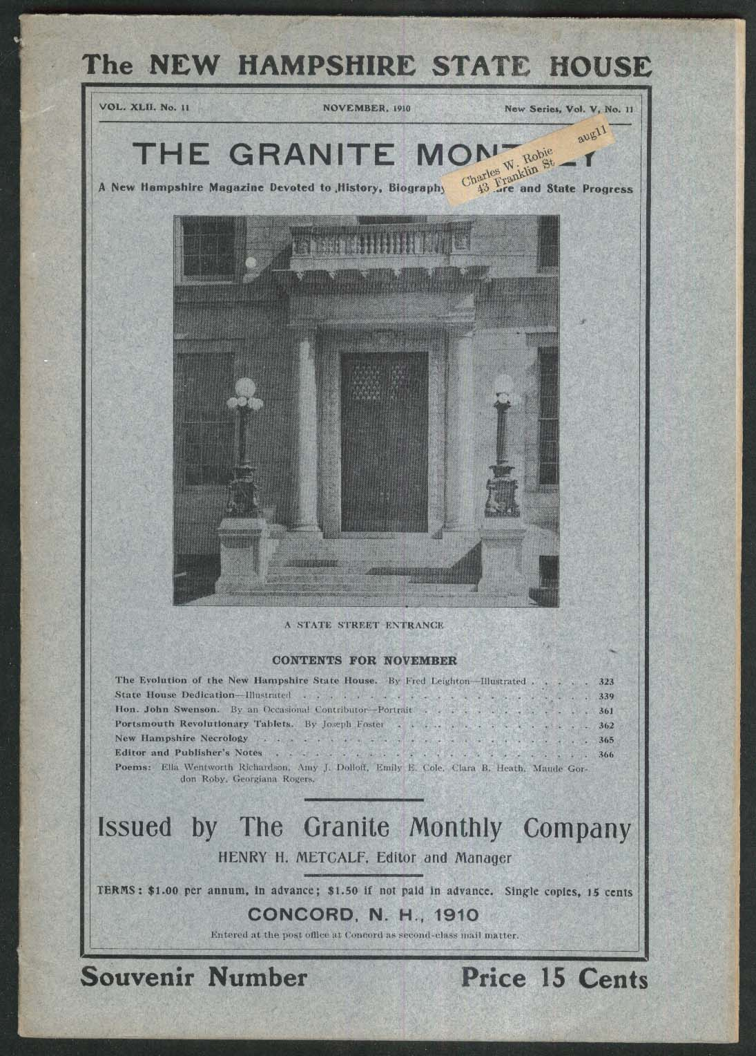 GRANITE MONTHLY New Hampshire John Swenson Portsmouth Revolutionary ++ 11 1910