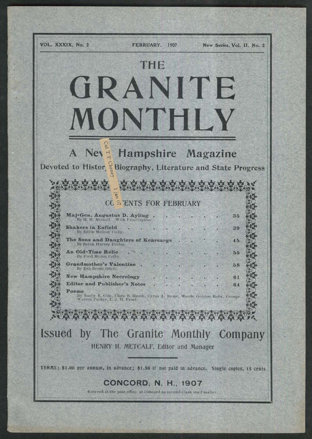 GRANITE MONTHLY New Hampshire Augustus Ayling Enfield Shakers + 2 1907
