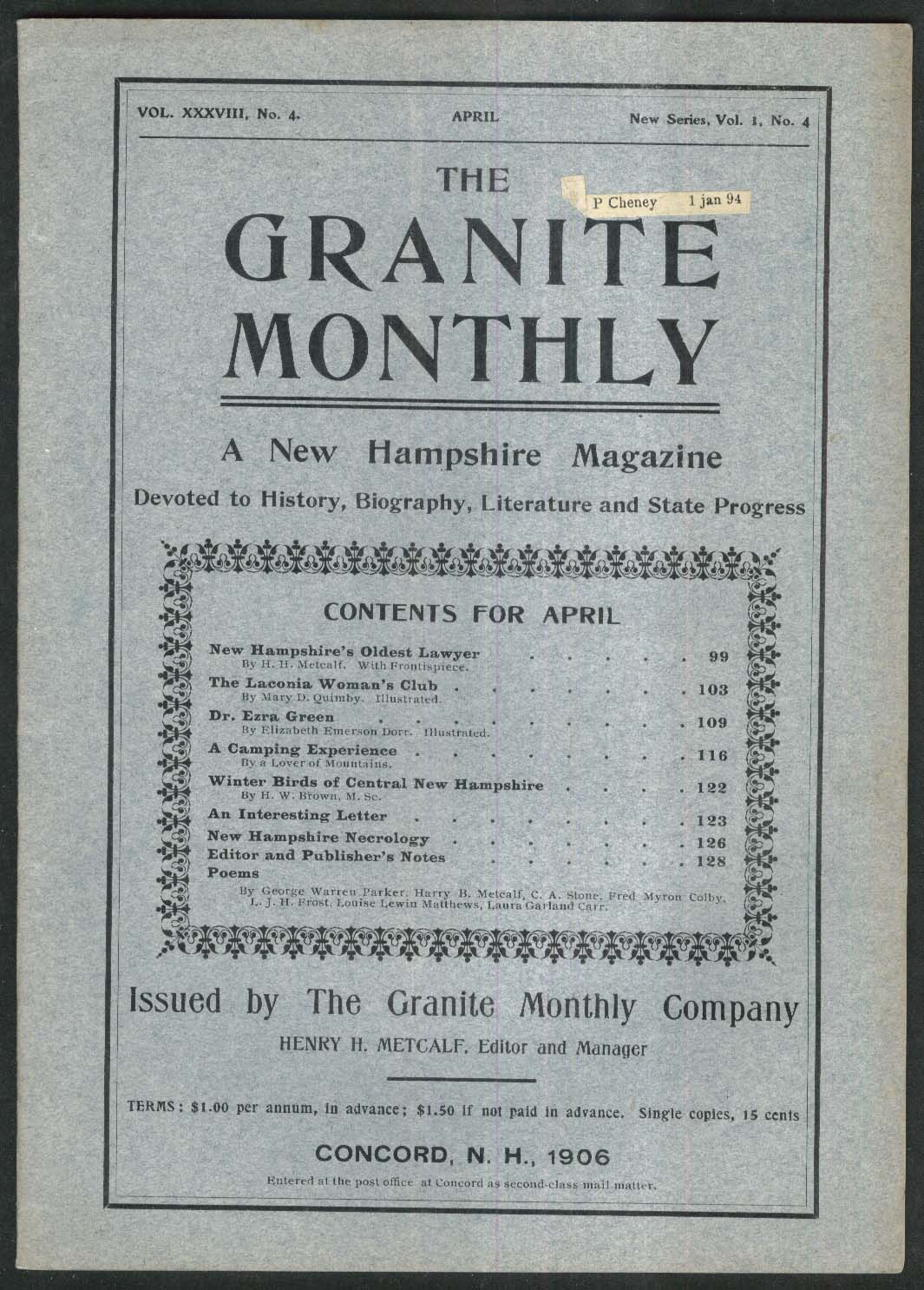 GRANITE MONTHLY New Hampshire Laconia Woman's Club Winter Birds + 4 1906