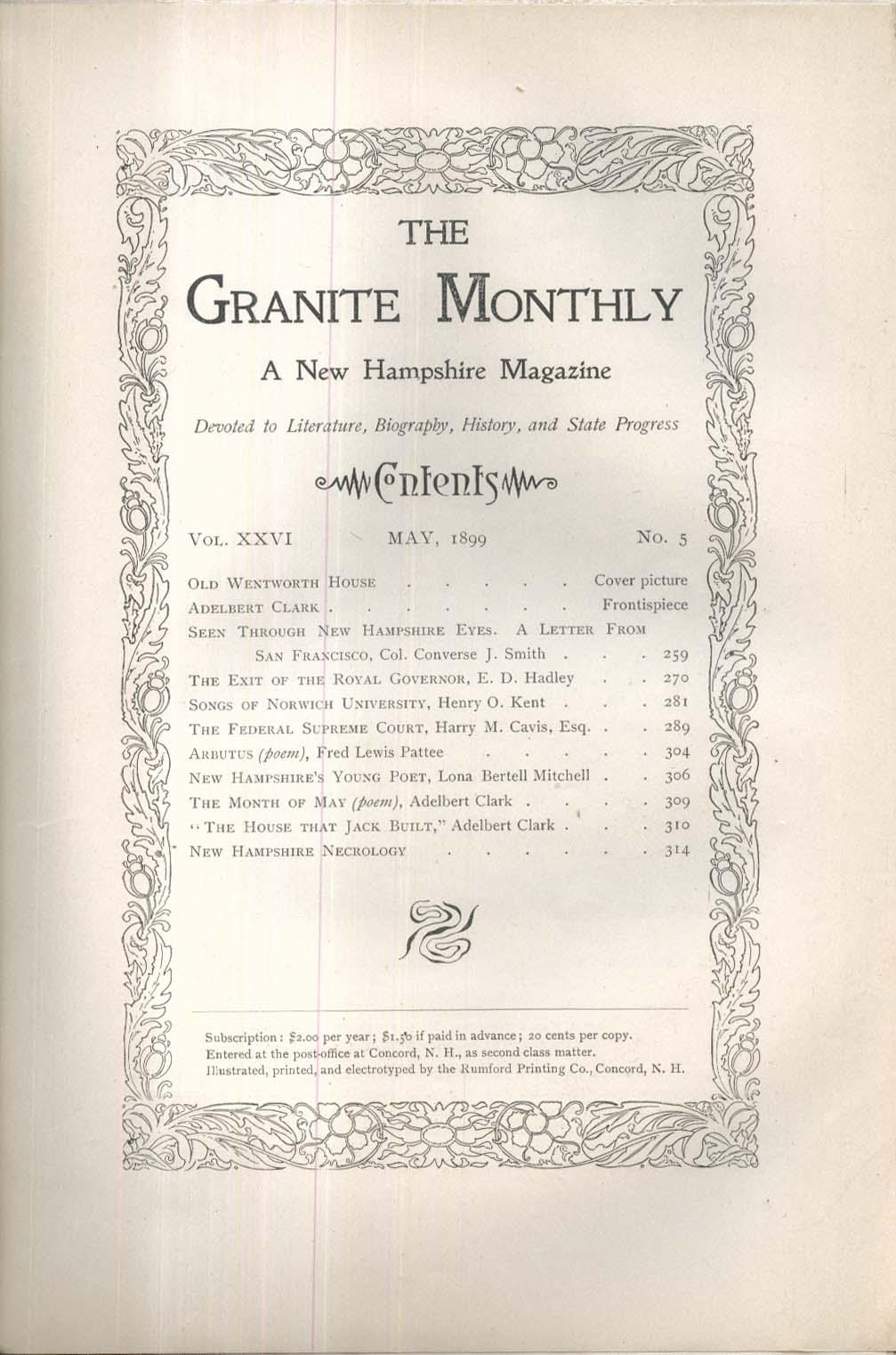 GRANITE MONTHLY New Hampshire Adelbert Clark Norwich University + 5 1899