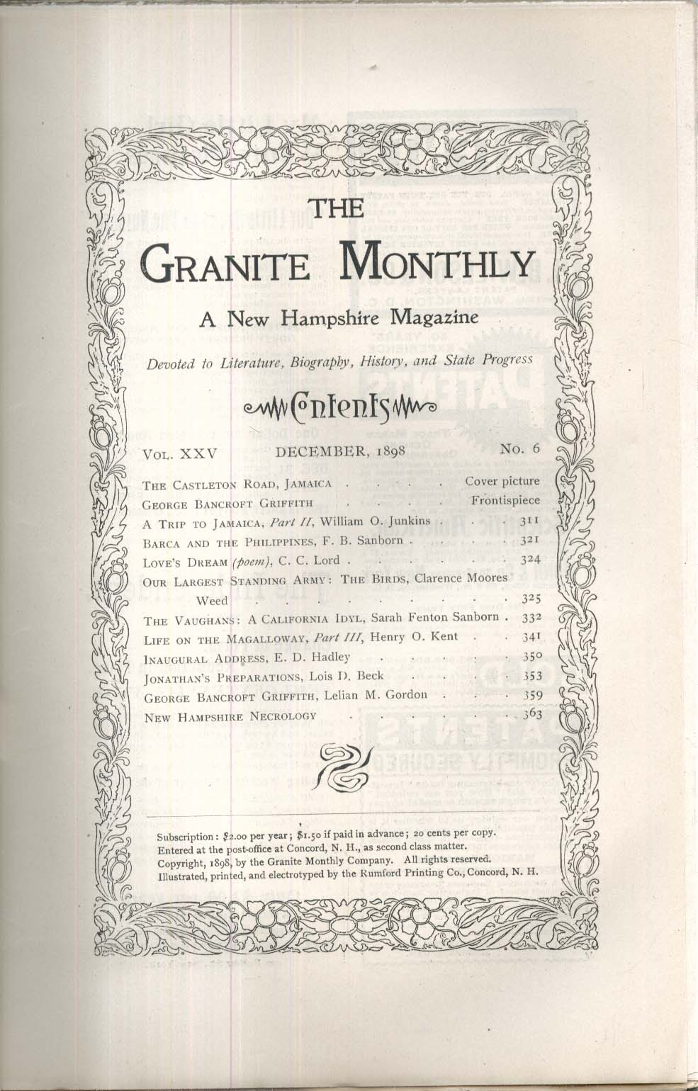 GRANITE MONTHLY New Hampshire George Bancroft Griffith + 12 1898