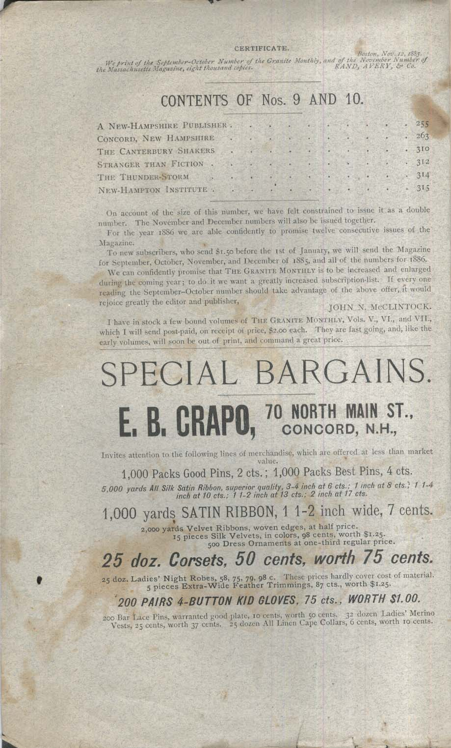 GRANITE MONTHLY New Hampshire Concord Canterbury Shakers 9-10 1885