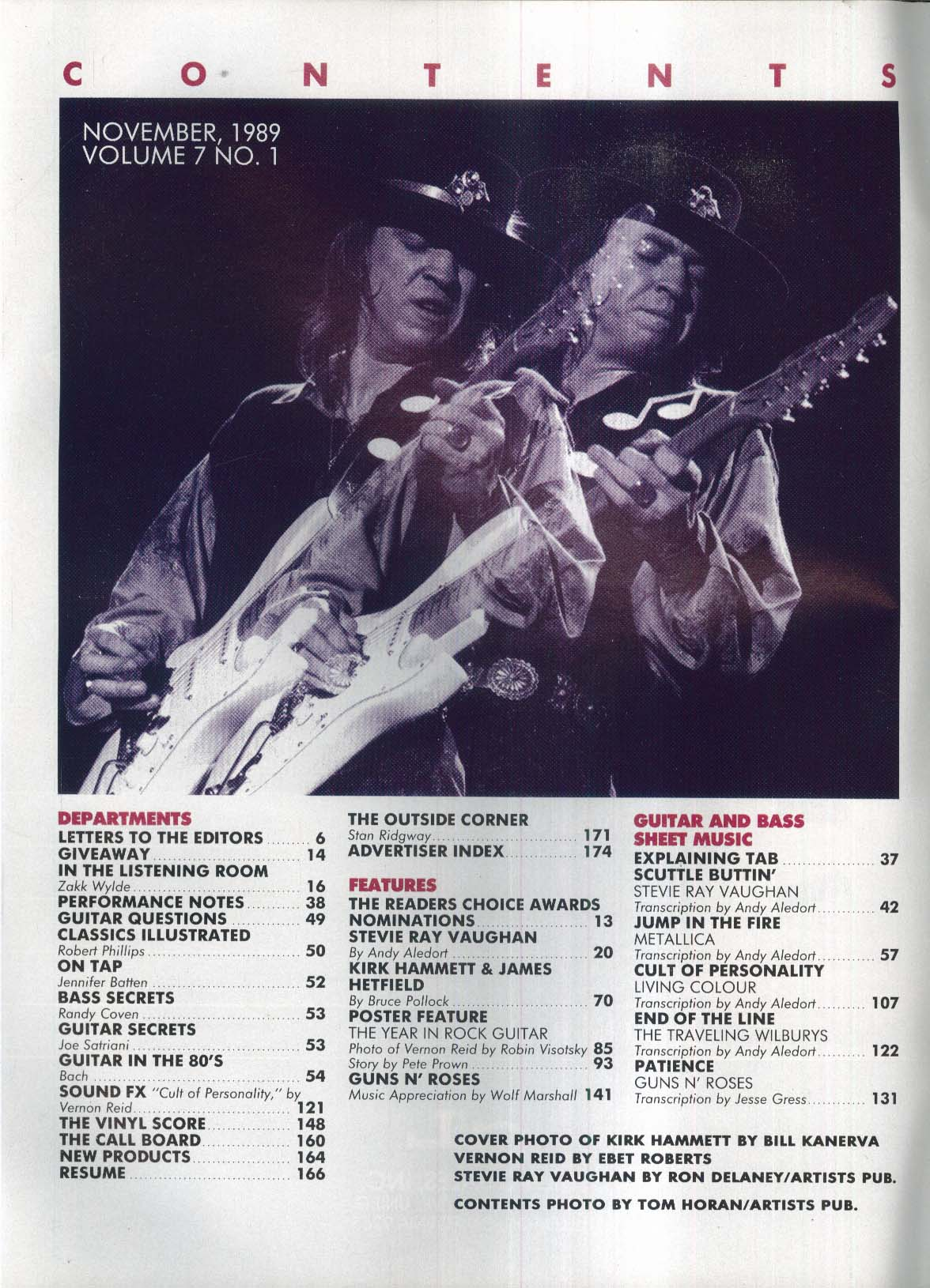 GUITAR Metallica Living Colour Stevei Ray Vaughan 11 1989