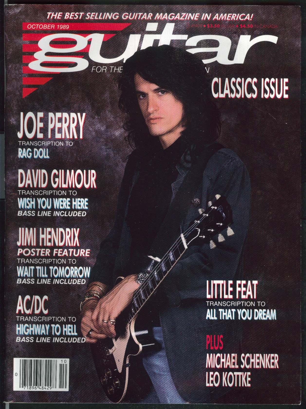 GUITAR Joe Perry David Gilmour Jimi Hendrix AC/DC 10 1989