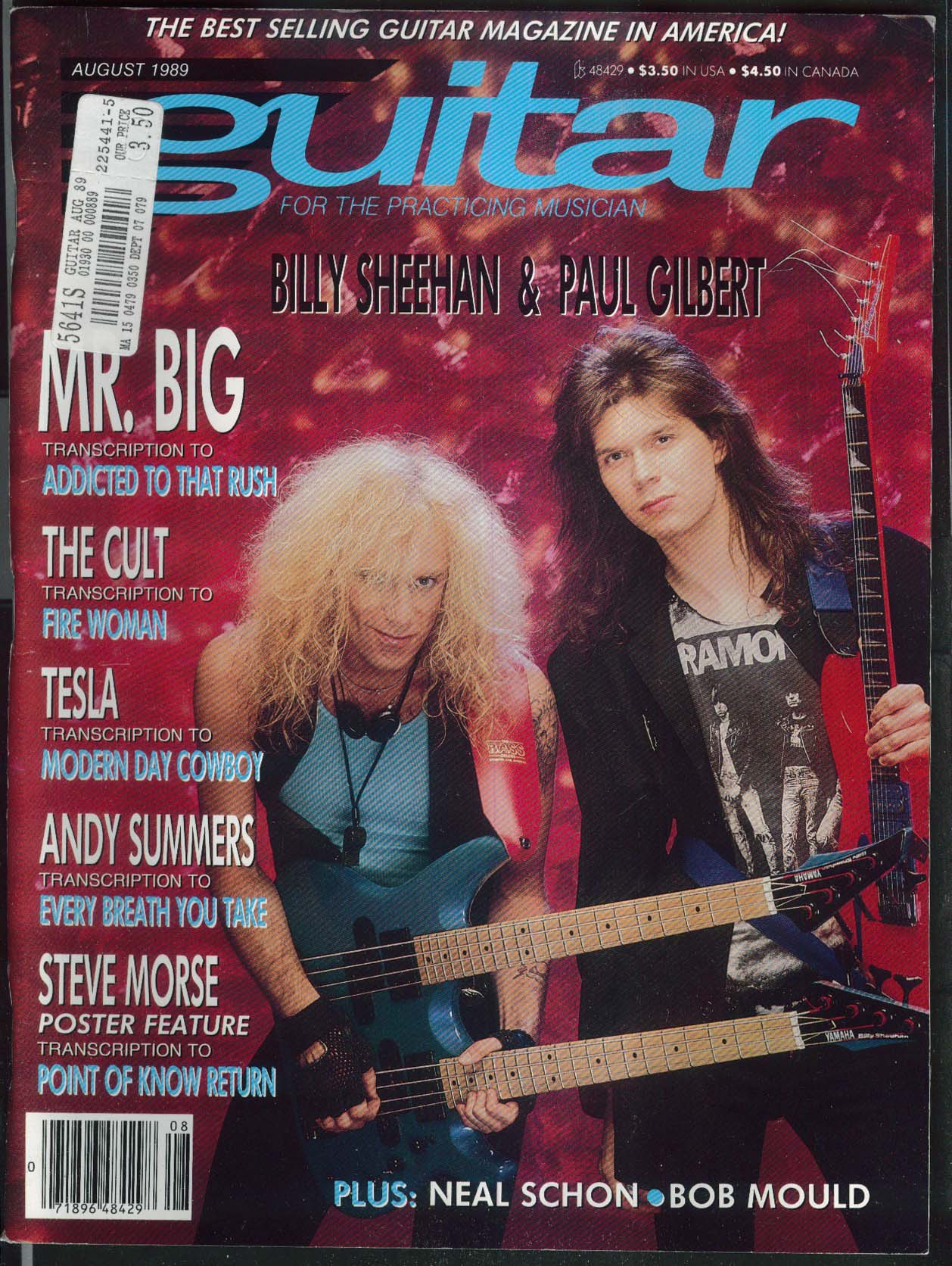 GUITAR Billy Sheehan Paul Gilbert Neal Schon Bob Mould Tesla 8 1989