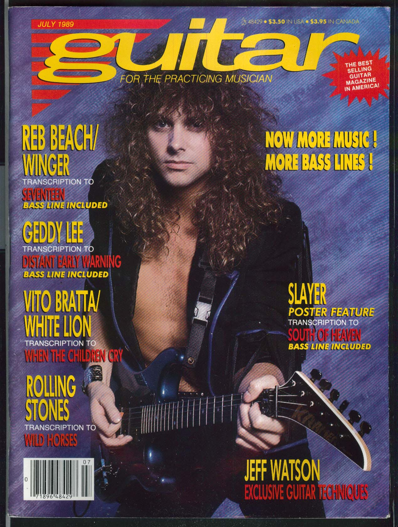 GUITAR Jeff Watson Reb Beach Slayer Geddy Lee 7 1989