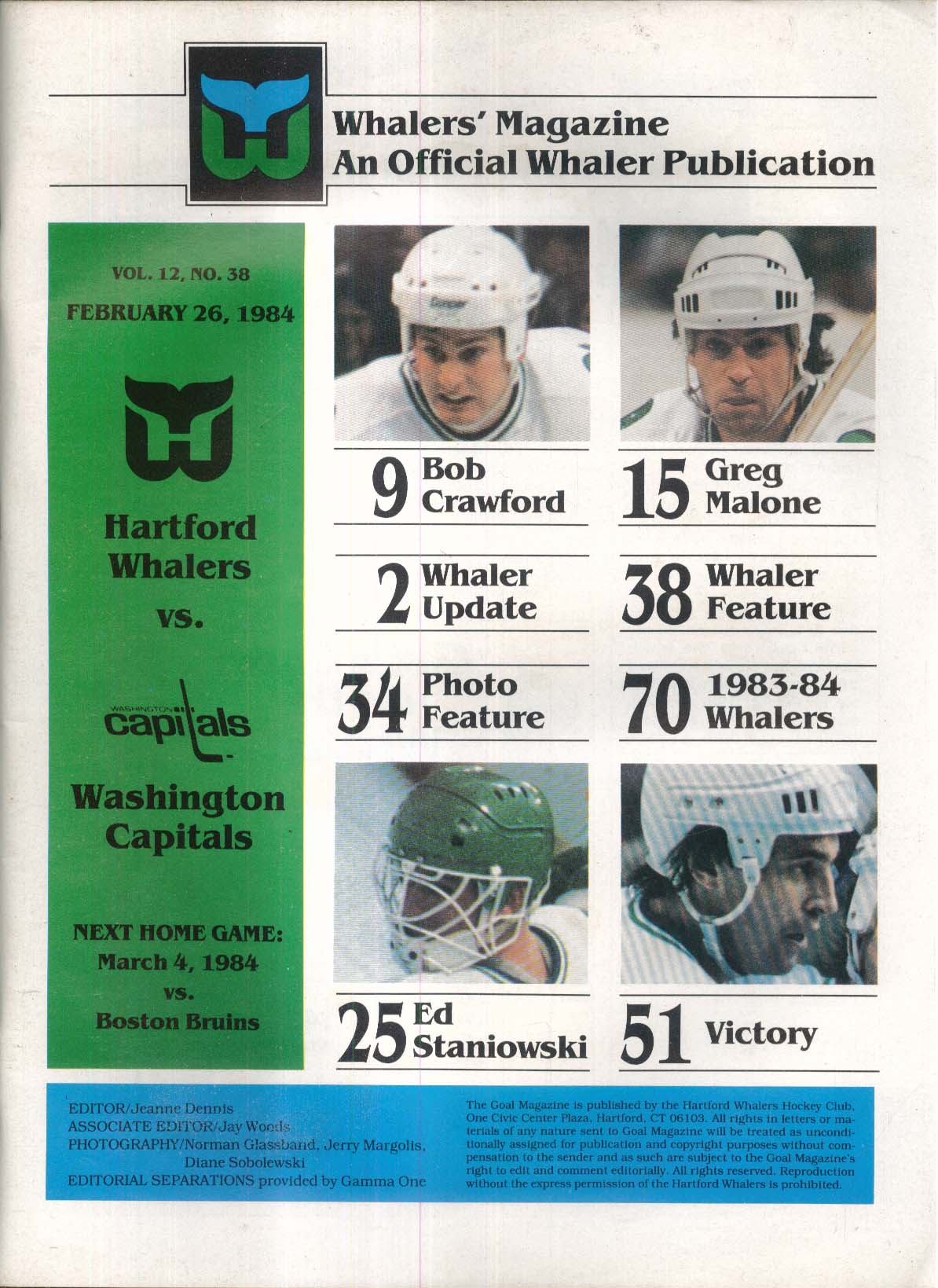 NHL GOAL Hartford Whalers vs Washington Capitals 2/26 1984