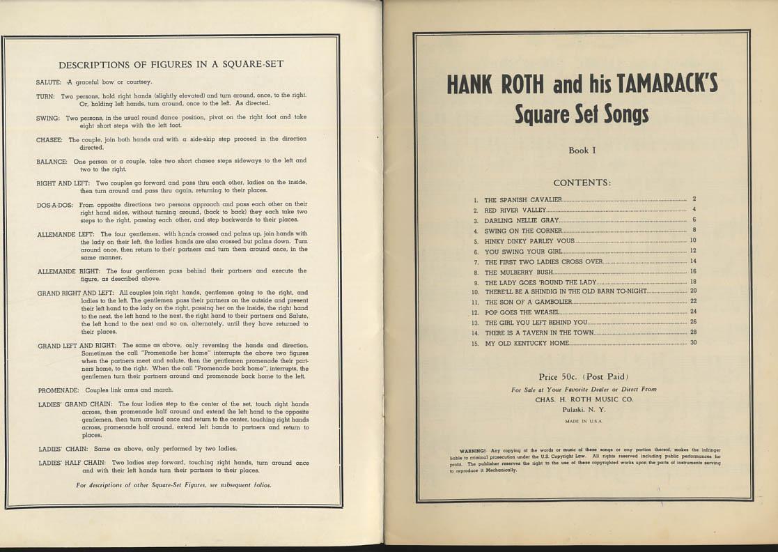 Hank Roth & His Tamaracks Square Dancing Set Songs songbook 1940