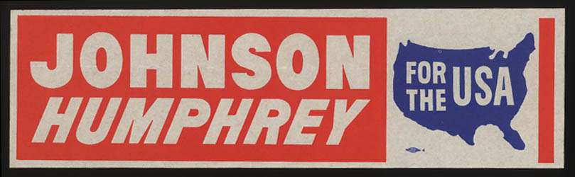 Johnson Humphrey for the USA 1968 Presidential bumper sticker unused