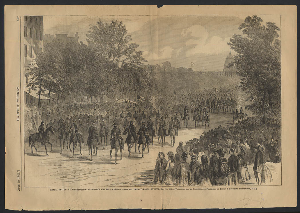 Image for HARPER'S WEEKLY 6/10 1865 Gen Sheridan's Cavalry review Washington DC