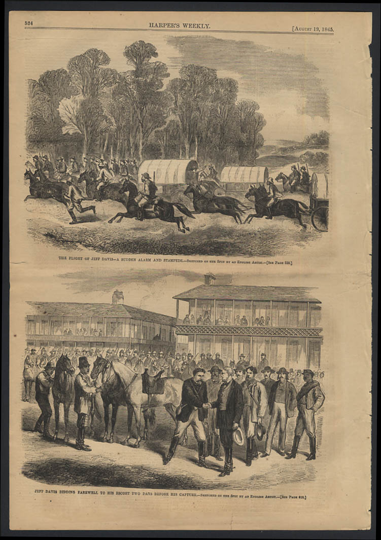 Image for HARPER'S WEEKLY 8/19 1865 Jefferson Davis on the run 2 days before capture