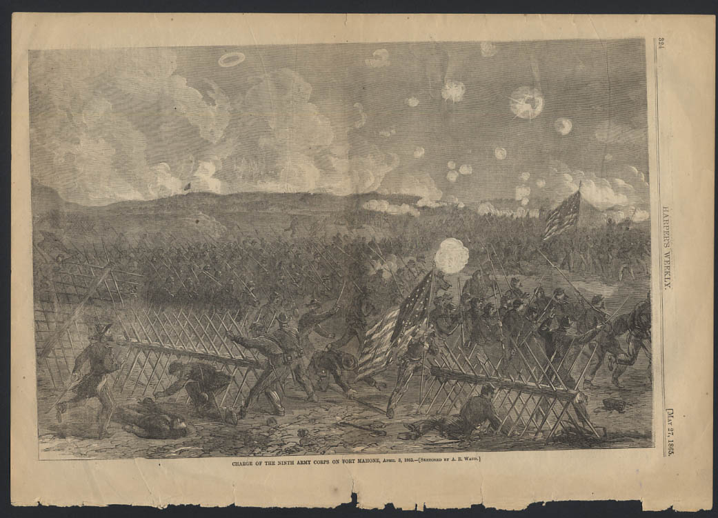 Image for HARPER'S WEEKLY 5/27 1865 Charge of 9th Army Corps on Fort Mahone
