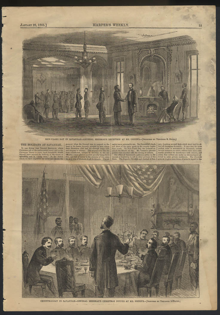 HARPER'S WEEKLY 1/28 1865 Gen Sherman Christmas & New Year's Columbia SC