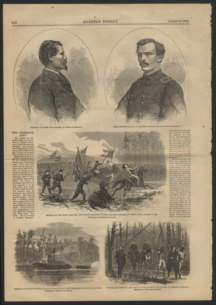 Image for HARPER'S WEEKLY 4/8 1865 Gen Sherman's Army H A Barnum Col O M Poe