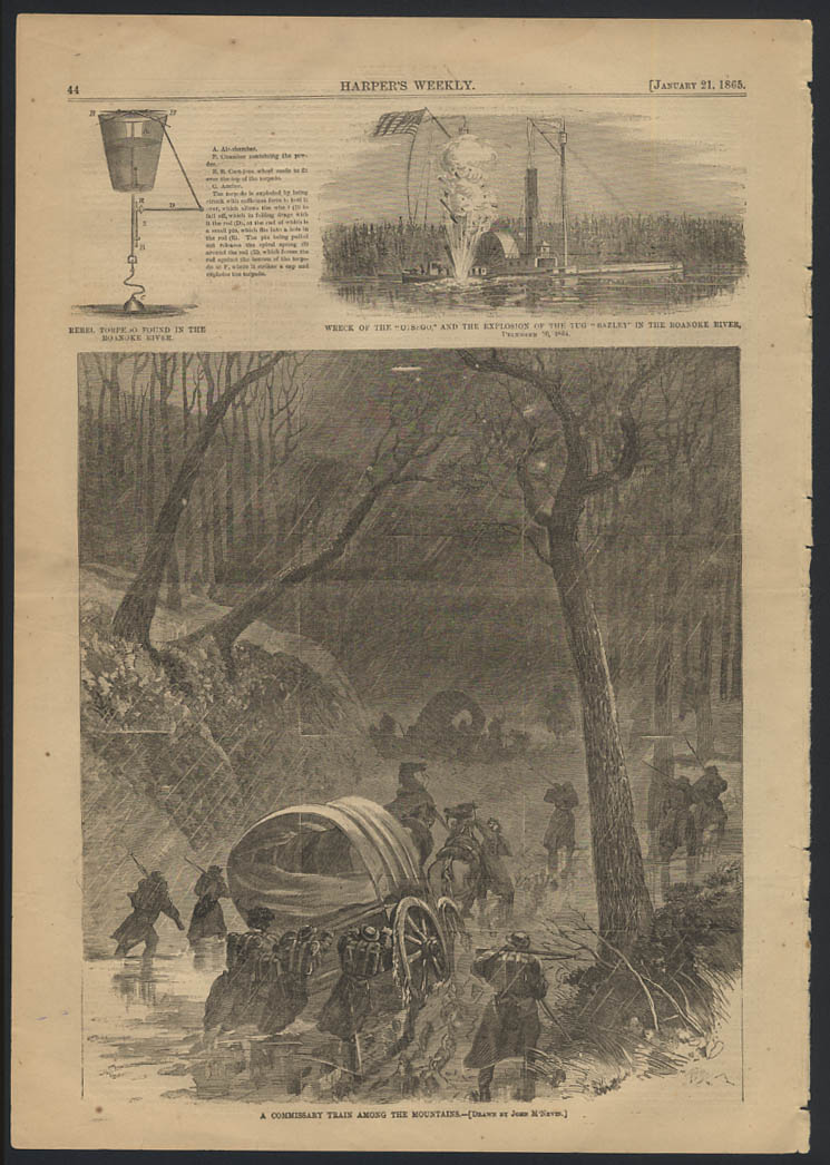 HARPER'S WEEKLY 1/21 1865 Rebel Torpedo; Otsego Wreck & Bazley; Commissary Train