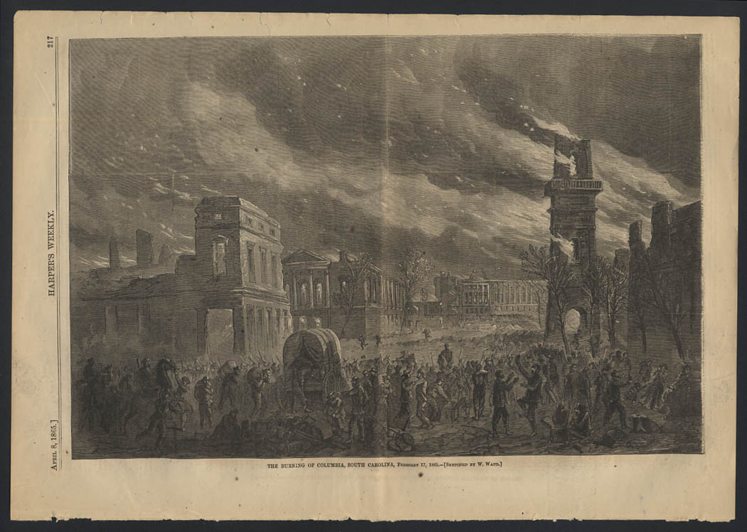 Image for HARPER'S WEEKLY 4/8 1865 Union burning of Columbia South Carolina 2/17