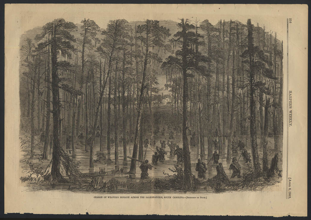 Image for HARPER'S WEEKLY 4/8 1865 Weaver's Brigade charge across Salkehatchie SC
