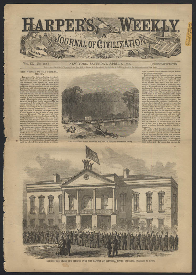 Image for HARPER'S WEEKLY 4/8 1865 Union Army flag raised Columbia SC & South Edisto