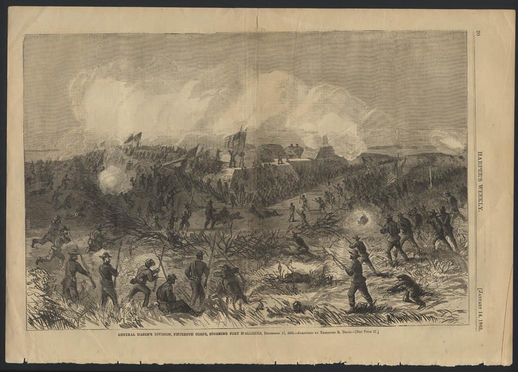 HARPER'S WEEKLY 1/14 1865 Gen Hazen's Division 15th Corps storms Fort McAllister
